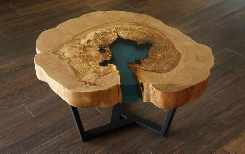Ash wood coffee table by KarpickaCraftStudio