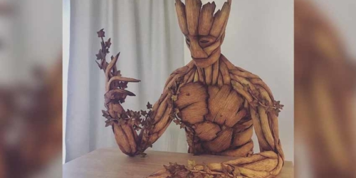 Caroline Eriksson Creates Groot Sculpture out of Gingerbread
