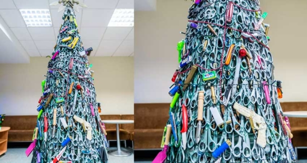 Lithuanian Airport Builds Christmas Tree out of Items Confiscated From Passengers