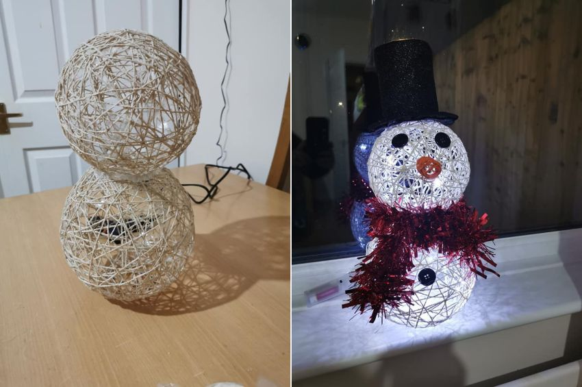 DIY Snowman Christmas Decoration using Balloons, String and Glue