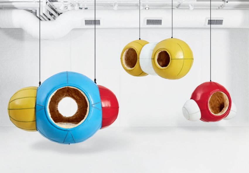 Porky Hefer's Molecules Leather Hanging Pods at Design Miami 2019