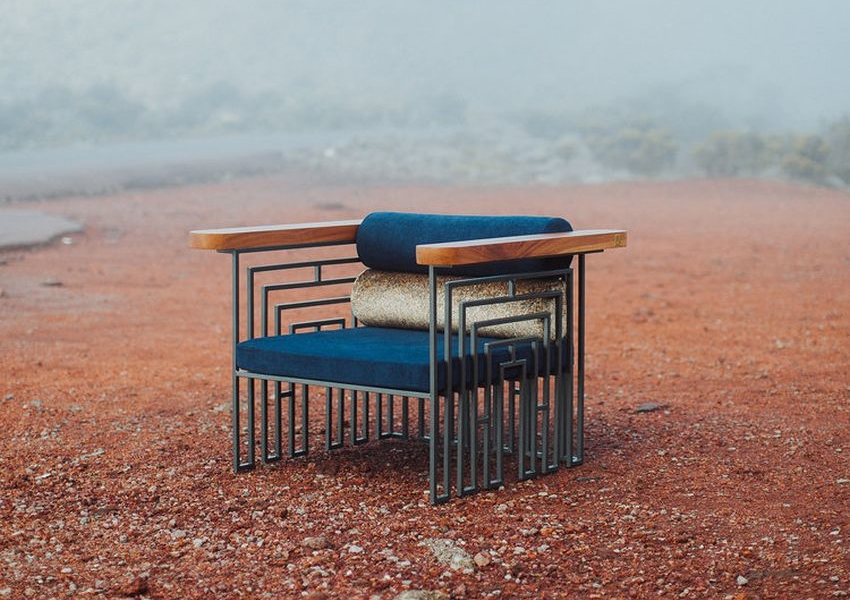 Banian Armchair by APPARTEMENT2 Combines Wood, Metal and Textiles