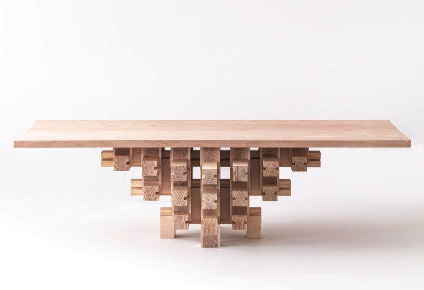 Grid Table by Mian Wei Assembles Without Screws