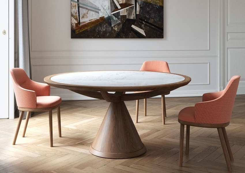 Vasco Table by Wewood Boasts Round Shape and Conical Pedestal Base