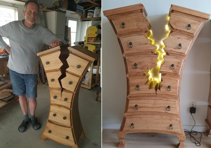 Woodworker Makes One-of-a-Kind Dressers that Appear to be Cracked