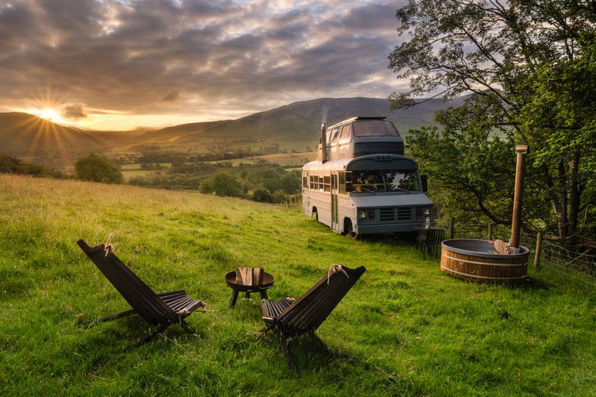 Hinterlandes Converted Bus Home in Cumbria, UK can be Rented for $160