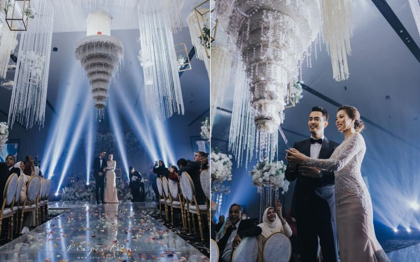 Malaysian Actors Upside-Down Wedding Cake that Looks Like a Chandelier