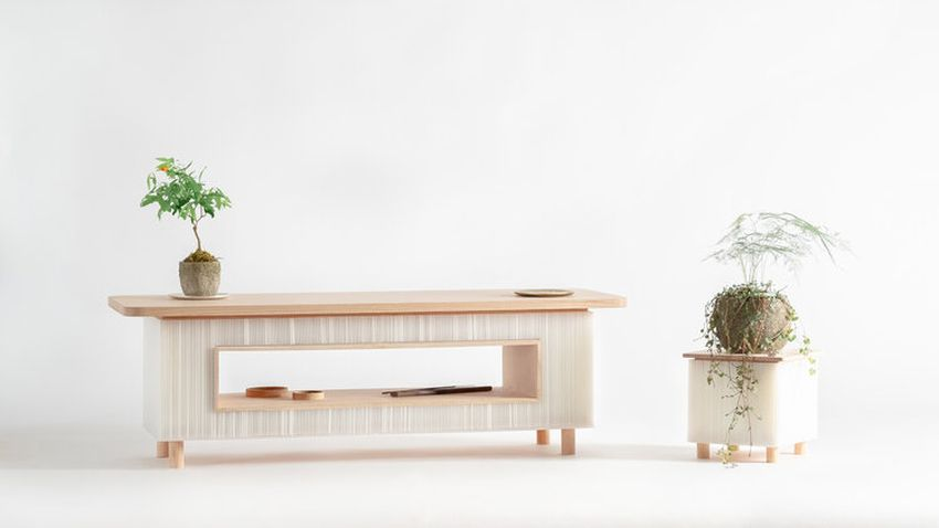WooYoo's FuwaFuwa Furniture Collection Combines Oak Wood with Corrugated Plastic