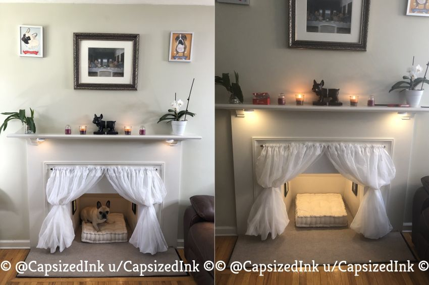 Redditor Turns Empty Fireplace into Little Dog Condo