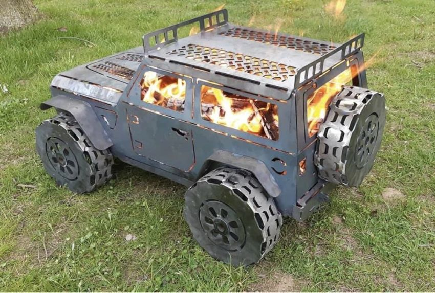 These Vehicle Fire Pits by Metal Art of Wisconsin are Lit