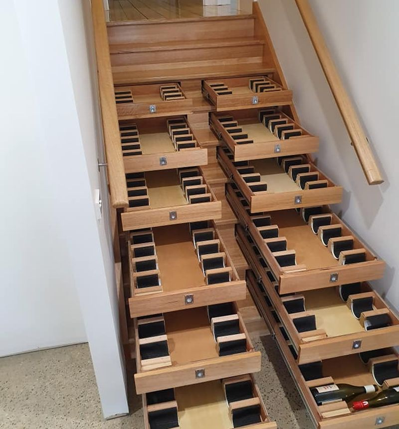 This Creative Staircase Doubles as a Wine Cellar