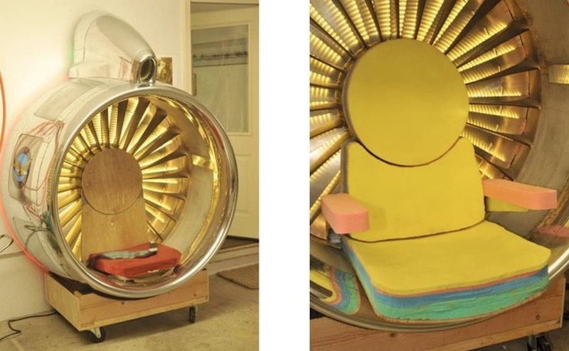 Dad and Daughter Turn Boeing 707 Engine Inlet into a Cool Chair