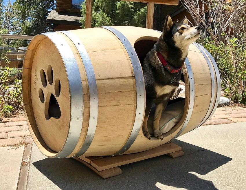 Repurposed Wine Barrel Dog House