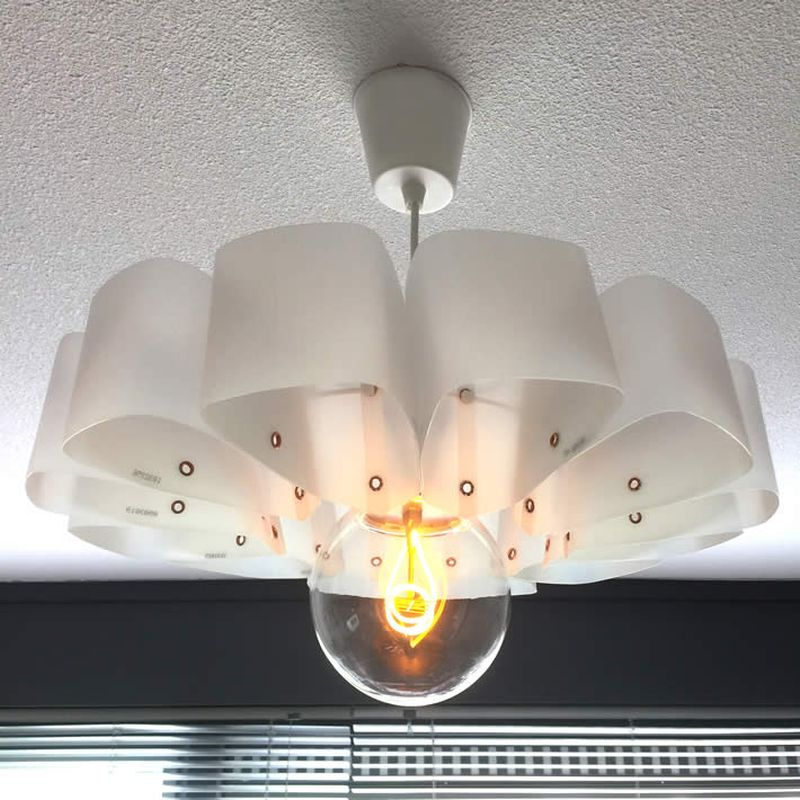 This Pendant Lamp is Handcrafted from Repurposed Plastic Milk Containers