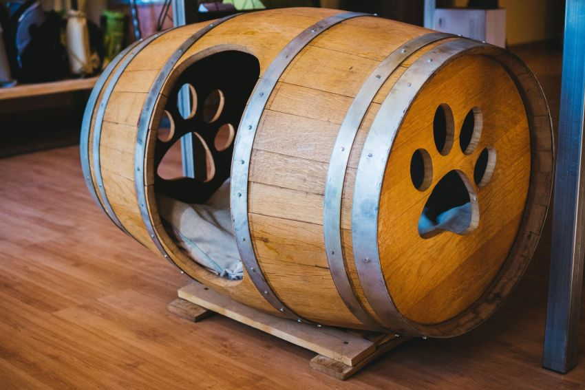 This Repurposed Wine Barrel Dog House is Really Creative and Elegant