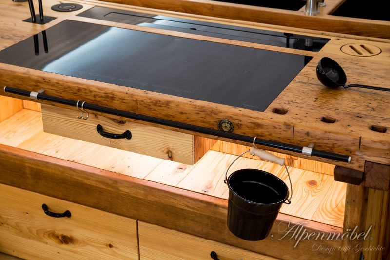 This one-of-a-kind Kitchen Island is Crafted from a Carpentry Workbench