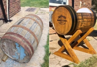 Harry Newman, a UK-based dad-to-be who has crafted a crib for his unborn child out of a Jack Daniel's whisky barrel