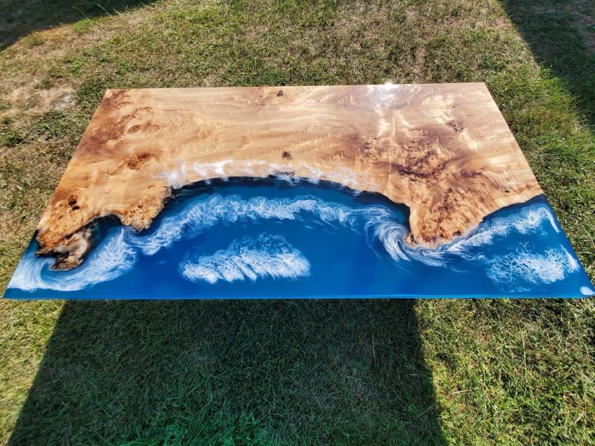 This Coastline Edition River Table will be a Stunner in Your Living Room