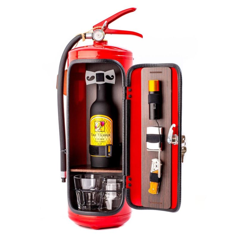 This Fire Extinguisher Mini Bar is a Quirky Gift for a Whisky Lover