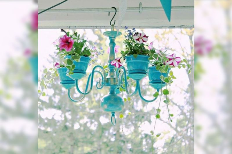 Repurposing Old Chandeliers into Planters is Pretty Cool Idea