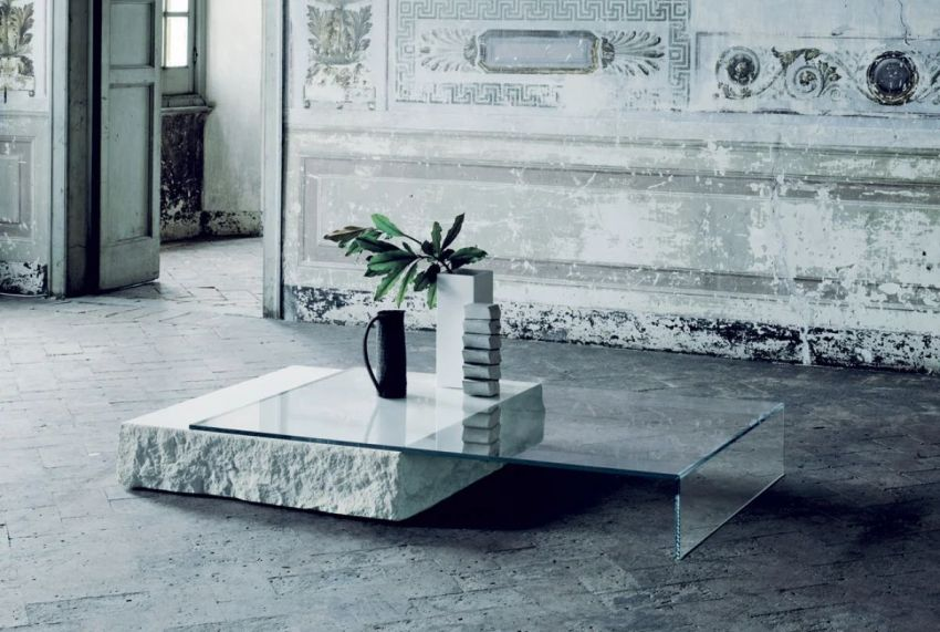 Claudio Silvestrin Designs Glass and Limestone Coffee Table for Glas Italia