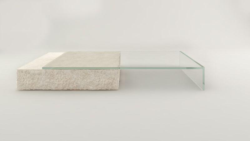Claudio Silvestrin Designs Glass and Limestone Coffee Table for Glas Italia