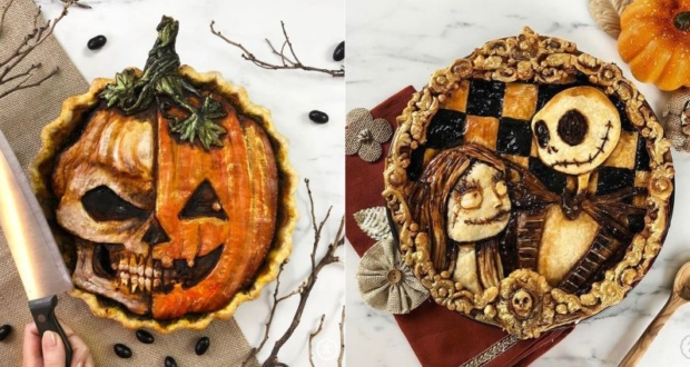 Baker Creates Spooky Pie Crust Designs for Halloween