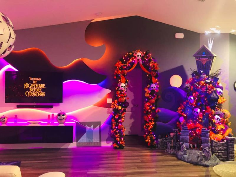Alfredo's living room filled with Halloween spirit