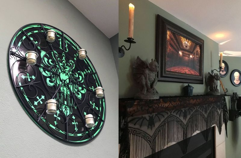 Clock in Paul's house is also Halloween themed, and the gargoyles on the mantel stand guard