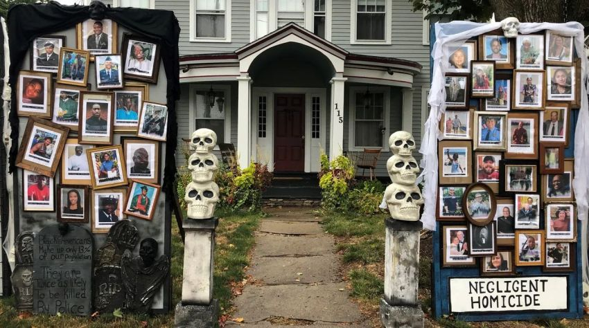 Matthew Warshauer's 2020 Halloween Display Focuses on COVID-19 and Black Lives Matter