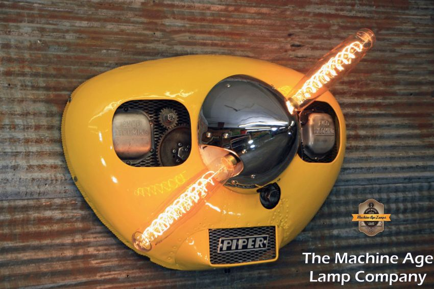 Steampunk Style Airplane Cowling Wall Light by Machine Age Lamps