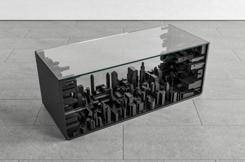 Metropolis Table by Mousarris Features Bending Cityscape