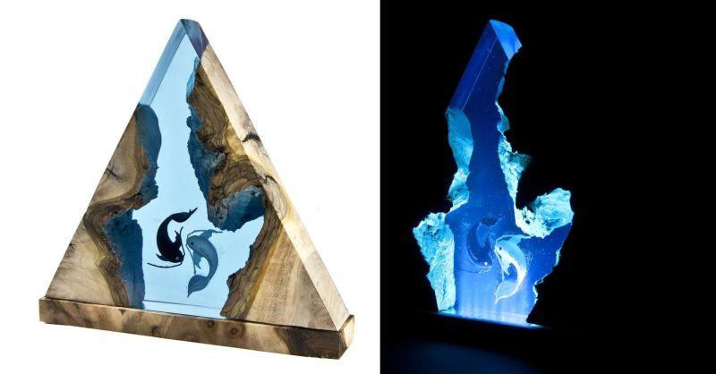Samil Demirel Creates Artistic Wood and Resin Lamps