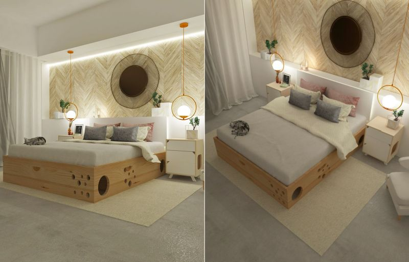 This Wooden Bed Frame has a Labyrinth Inside for Cats