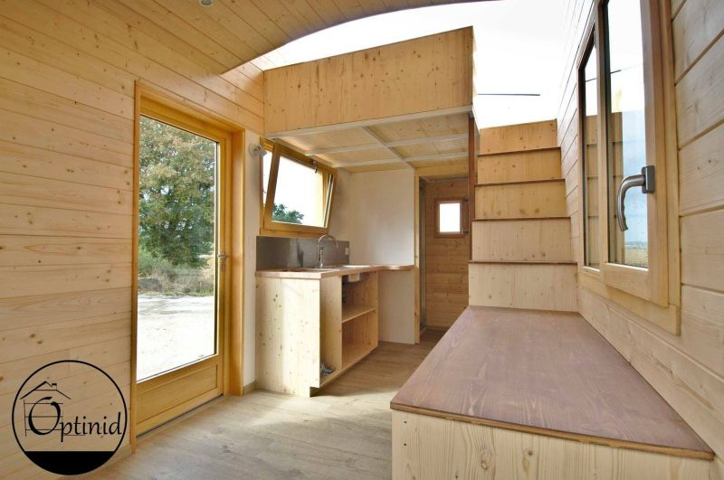 Optinid Builds Tiny House with Sliding Roof for Marie & Ange