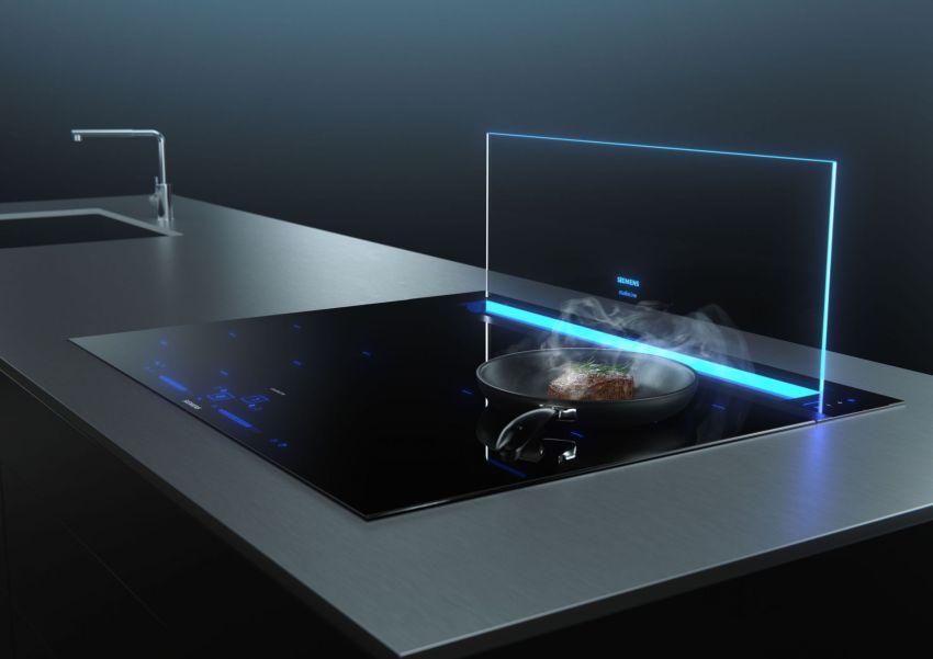 SIEMENS glassdraftAir Downdraft Range Hood is Ideal for Open Kitchens
