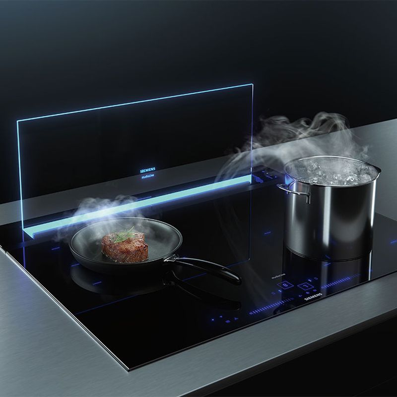 SIEMENS glassdraftAir Downdraft Range Hood is Ideal for Open Kitchens