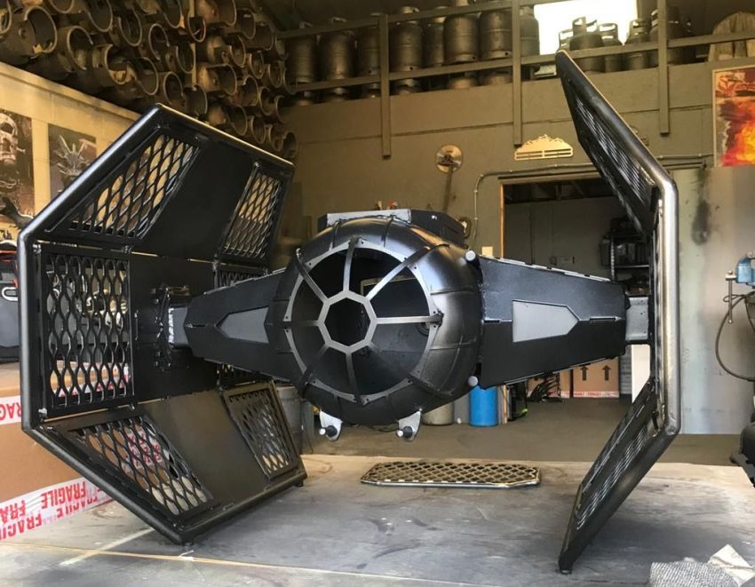 TIE Fighter Advanced Fire Pit and Grill Burned by Design