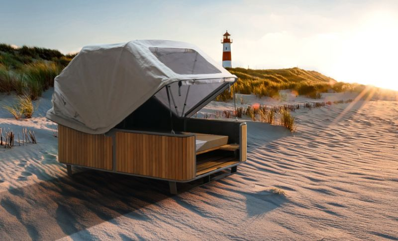 liv.be Beach Chair 2.0 Outdoor Bed Features Adjustable Cover for Sun and Rain
