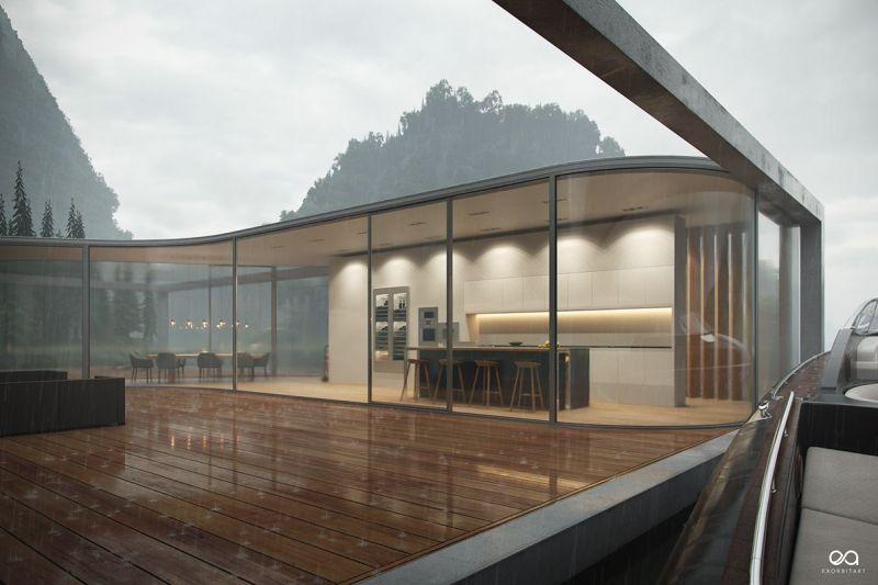 Benjamin Springer Designs Luxury House Floating Over a Lake