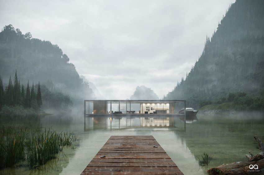 Benjamin Springer Designs Luxury House Floating Over a Lake