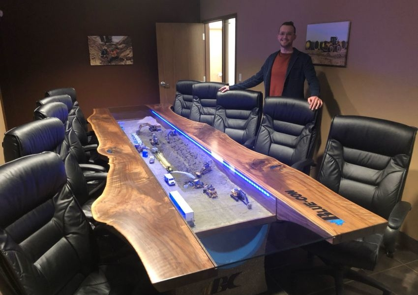 Ryan Haasen Builds Diorama Boardroom Table for Blue-Con Excavating