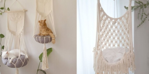 These Hanging Macramé Cat Hammocks are Purrrfect for Furry Companions