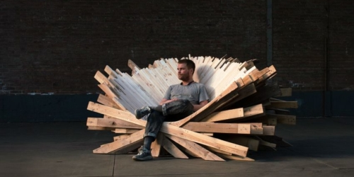 Anton Brunberg Creates Sculptural Chair Using Recycled Pallets