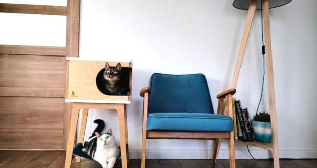 Purrfur's Stylish Cathouse With Hammock is Perfect for Two Cats
