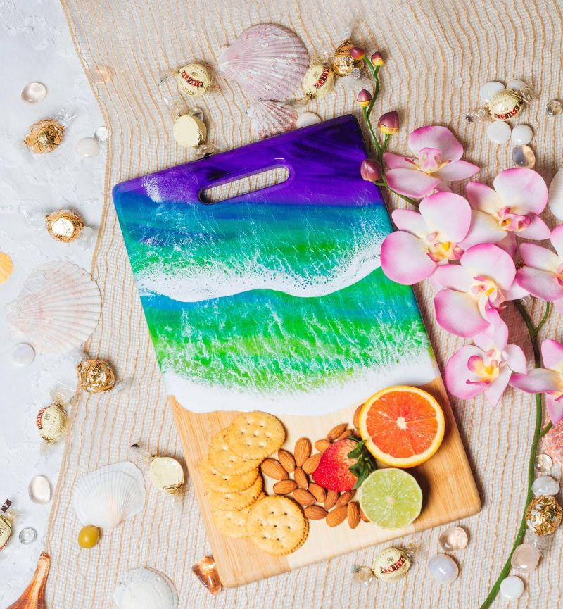 Maria Risen Creates Wood Serving Boards with Amazing Resin Seascapes