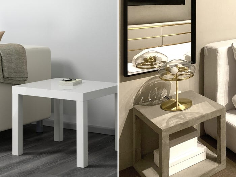 DIY Designer Kiva Brent Builds Cement Nightstand out of Lack Tables Worth $ 30