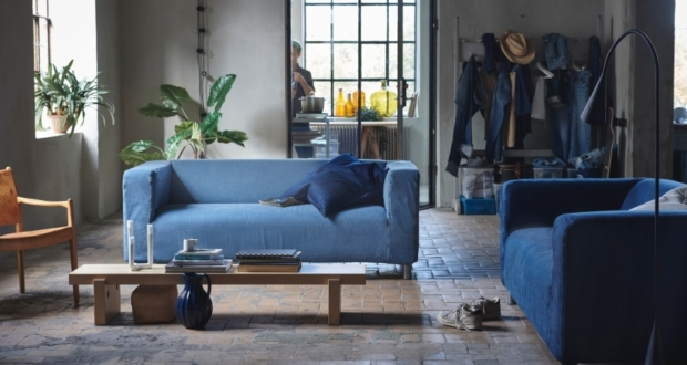 IKEA and MUD Jeans Recycle Used Denim To Make Covers For Klippan Sofa