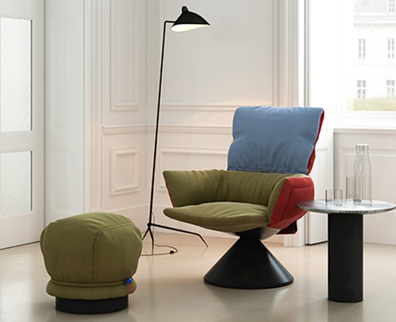 Cappellini's Ludo Lounge Armchair feels like feather padded jacket