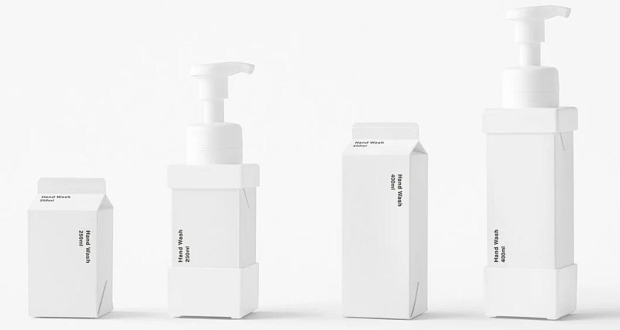Nendo carton soap dispenser